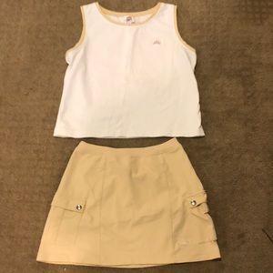 Tennis shirt and skirt